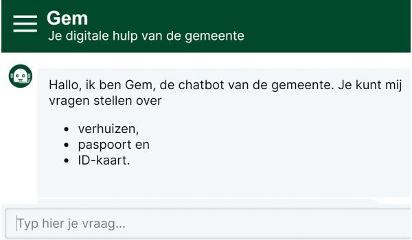 Chatbot 'Gem' op roosendaal.nl voor betere en uitgebreidere dienstverlening aan de inwoners