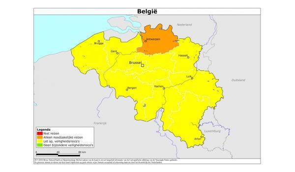 Reisadvies Belgie 28-07-2020