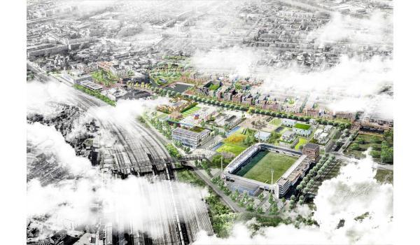 Impressie van het toekomstige Vlietpark in Stadsoevers